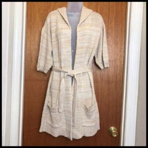 Hooded & Tie Belt Long Cotton Blend Open Cardigan
